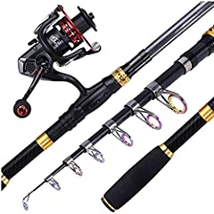 Description:Fishing Rod:1.Material: 99% Carbon Fiber2.Length: 1.8m/2.1m/2.4m/2.7m/3.0m/3.3m3.Model Type: Telescopic Fishing Rod, Spinning Fishing Rod4.Line Weight Range: 5-10LB5.Lure Weight Range: 1/4-3/4 oz6.Weight: 172-298gThe Reel:Fishing ...