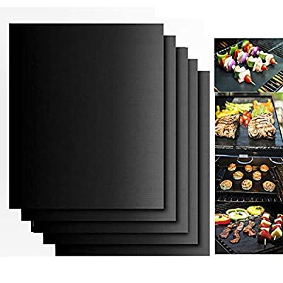 Neatylife BBQ Grill and Baking Mat set of 5- FDA approved,Reusable,Non Stick,Easy to Clean-Works on Gas,Charcoal,Electric Grill and More-Portable Outdoor Grill Cooking Tools(Black)