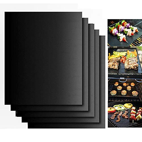 Neatylife BBQ Grill and Baking Mat set of 5- FDA approved,Reusable,Non Stick,Easy to Clean-Works on Gas,Charcoal,Electric Grill and More-Portable Outdoor Grill Cooking Tools(Black) by Neatylife