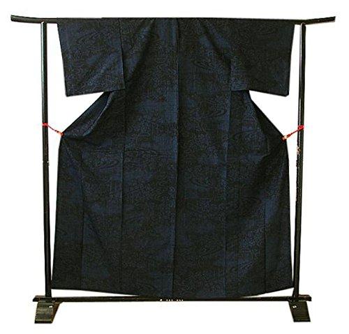 博多着物市場 きものしらゆり  単衣 着物通 濃紺地 真綿紬 正絹 仕立上り 袷