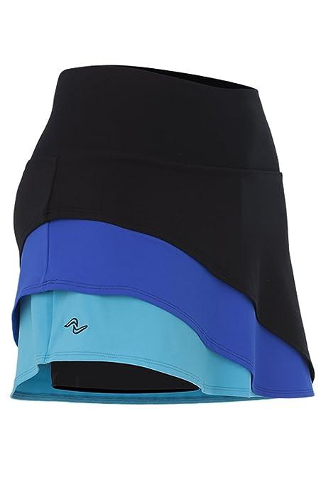 Naffta Paddle-Tennis - Falda con short para mujer, color negro/azul Francia