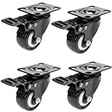 4PCS 1.5 inch Black Office Chair Swivel Rubber Casters Industrial Universal Brake Wheels