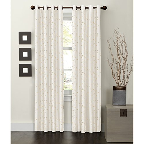 Embroidered Faux Silk Curtain - MAYTEX Jardin Thermal Blackout Room Darkening Faux Silk Embroidered Single Panel Grommet Window Curtain, 54 inch x 84 inch, Natural White