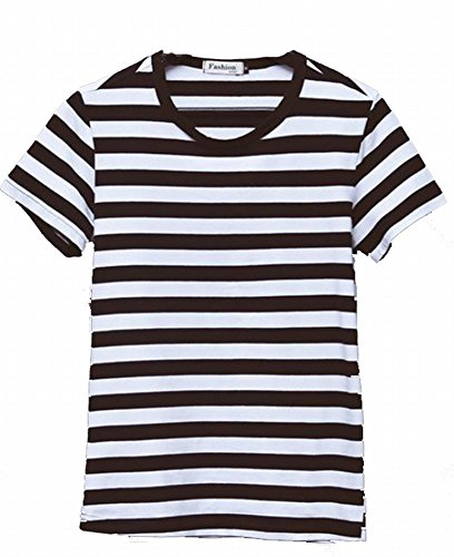 [Heromanoc Men Fashion Wind Round Neck Striped Slim Bottoming Shirt XXL Black] (Pugsley Addams Costume)