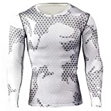 kaifongfu Running Tops,Camouflage Tights Men Quick-Drying Top Long Sleeve Breathable Muscle Tops(White,3XL)