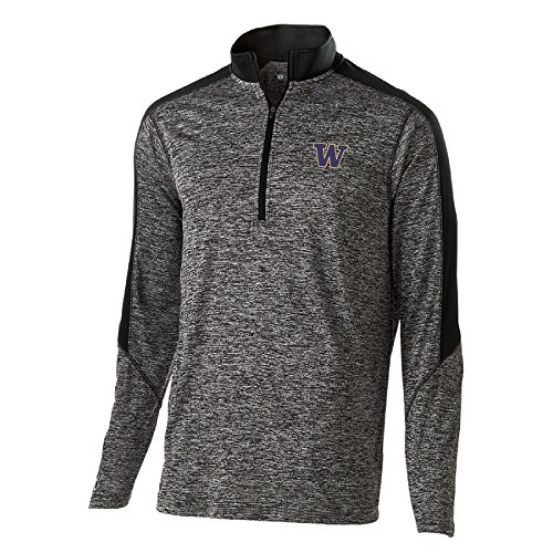 - Ouray Sportswear NCAA Washington Huskies Electrify 1/2 Zip Pullover, Small, Black Heather/Black