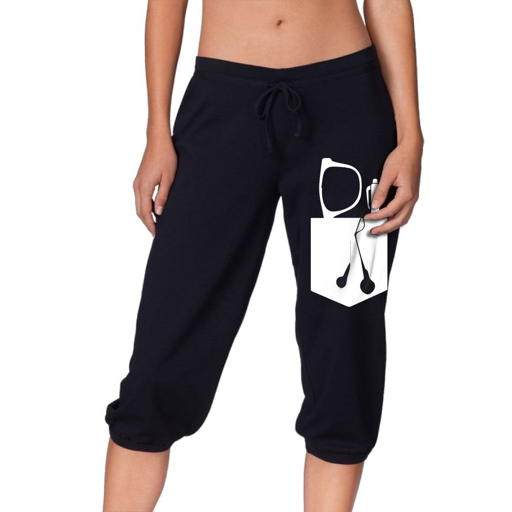 Glasses, Pen, and Ear Buds in Pocket1 Women's Workout Knee Pants for Jogging Legging Sports Pants