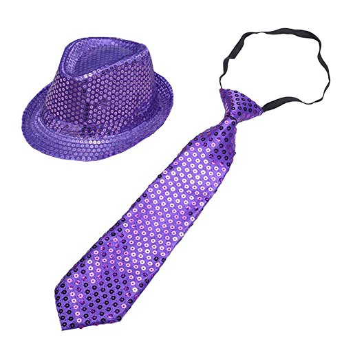 CHUANGLI Adult Solid Color Sequins Fedora Hat Hip-hop Cap with Glitter Necktie for Costume Party Accessory