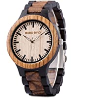 Men Wood Watch Handmade Wooden Wrist Watches Zebra Lightweight Wood Wrist Watches