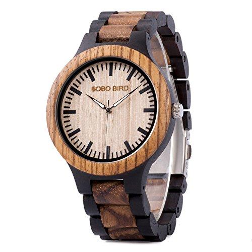 Men Watch Wood Handmade Quartz Wooden Wrist Watches Zebra Lightweight Wood Wrist Watches for Men
