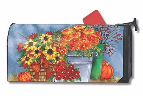 Mum's the Word Fall Large Mailbox Cover Floral Pumpkins Autumn Oversized