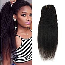 Ugeat 14inch Kinky Straight Clip in Hair Extensions Natural Hair 7pcs 120g Full Head Remy Clip in Human Hair Extensions For Black Women