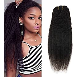 Ugeat 12inch Yaki Clip in Extensions Kinky Straight Short Unprocesssed Clip in Human Hair Extensions Natural Color Yaki Straight Clip ins Hair Extensions for Black Women 120Gram 7Pcs Full Head Set