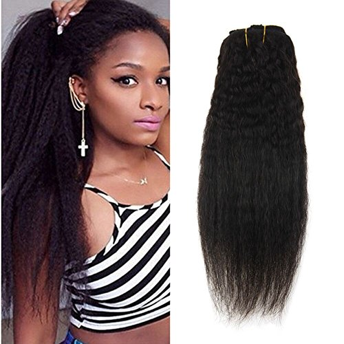Ugeat 12inch Yaki Clip in Extensions Kinky Straight Short Un