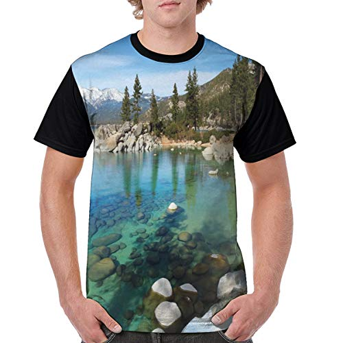 Man's T Shirts,Scenic American Places Mountains with Snow Rocks in The Lake California Summer M (Best Places To See Wildflowers In California)