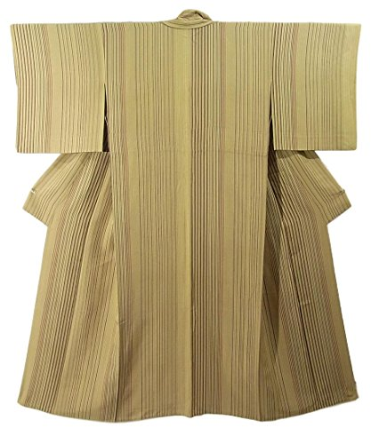 リサイクル 着物 小紋 ひとえ 正絹 縦縞文様 裄62.5cm 身丈151cm