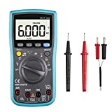 Digital Multimeter, 6000 Counts TRMS Auto Ranging Digital Multimeter ester with test leads - Capacitance Resistance Hz Duty Cycle Temperature AC/DC Voltage Current Transistor Diode Buzzer Test