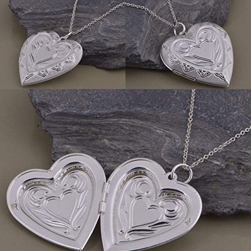 Gloa Necklaces Love Heart Shape Photo Frame Pendant Necklace Chain Charm Jewelry Party Gift