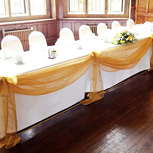 """vLoveLife Gold 197""""x53"""" Sheer Organza Top Table Swag Fabric Table Runner Chair Sash Wedding Car Party Stair Bow Valance Decorations"""
