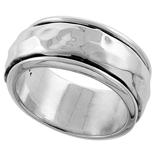 10mm Sterling Silver Mens Spinner Ring Hammered Domed Center Handmade 3/8 inch wide, size 10