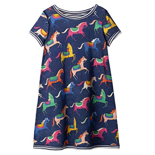 IsabelaKids Little Girls Animal Print Cotton Summer Short Sleeve Tunic Dress with Striped Pocket (7T, 1GDS415)
