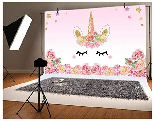Laeacco 5x3ft Photography Background Unicorn Birthday Party Photo Backdrop Background Watercolor Flowers Roses Cute Stars Smiling Face Baby Shower Unicorn Head Sweet Pink Girls Photo Portrait Stduio -