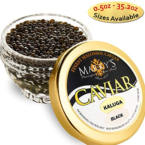 Marky's Kaluga Hybrid Black Caviar – 1 Oz Premium Kaluga Huso Dauricus Beluga Malossol Black Roe – GUARANTEED OVERNIGHT