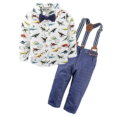 BIG ELEPHANT Baby Boys'2 Pieces Long Sleeve Dinosaur Shirt Pants Set with Bow L64 ()