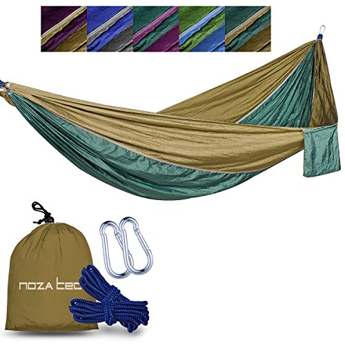 Double Nylon Hammock (Double Parachute Hammock, Noza Tec Portable Lightweight Nylon Fabric Camping Hammock for Backpacking, Travel, Beach, Yard. Straps Included (Brown/Olive))