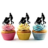 TA0484 Mom Baby Stroller Silhouette Party Wedding Birthday Acrylic Cupcake Toppers Decor 10 pcs