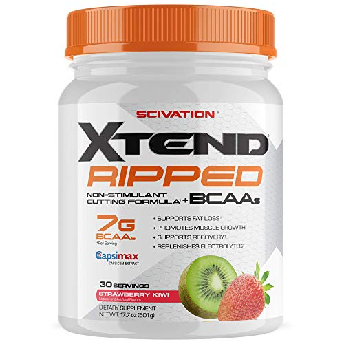 Scivation Xtend Ripped Bcaa Powder, Strawberry Kiwi, 30 Servings - Stimulant Free Branched Chain Amino Acids, bcaas, for Muscle Recovery with Cla & L Carnitine (Packaging May Vary) (Xtend Bcaa Best Flavor)