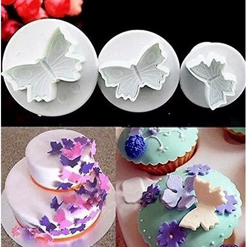DOMIRE New 3Pcs/Set Fondant Cake Decorating Plunger Sugarcraft Cutter Mold Tools Bakeware Tools,snowflake