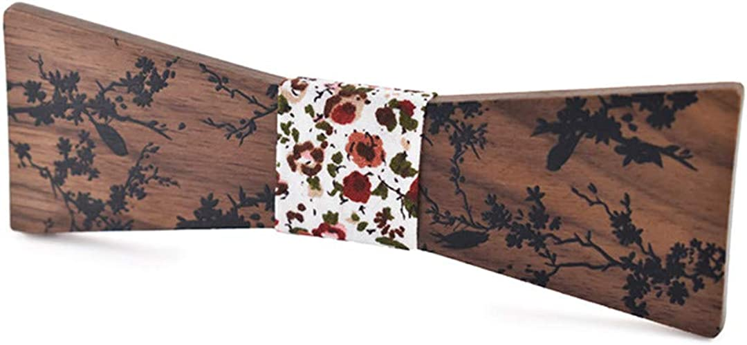 MenS Adjustable Vintage Plant Print Bow Tie Butterfly Bowtie Tuxedo Bows Wooden Bow Ties
