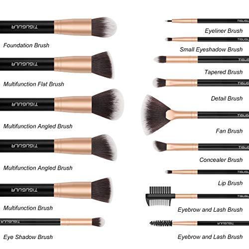 Makeup Brushes 15 Pcs Professional Makeup Brush Set Premium Synthetic Brush Foundation Brush Powder Blending Blush Highlighter Concealer Lip Face Eyeshadow Brushes Kit with PU Leather Roll Bag