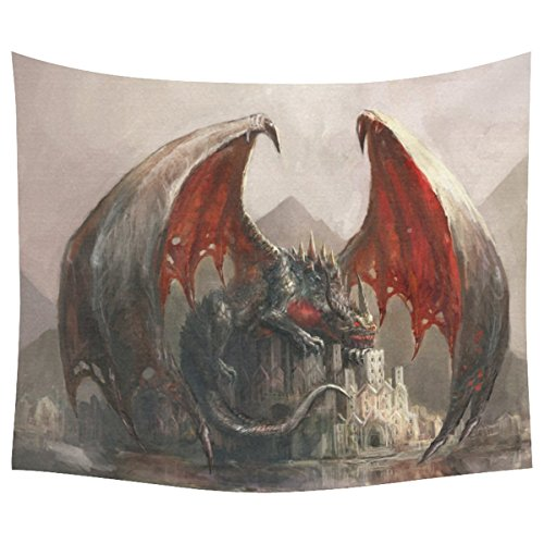 InterestPrint  Fantasy Landscape Home Decor Tapestries Wall Art,Dragon Castle Tapestry Wall