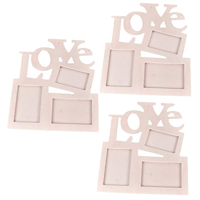 Vosarea Wooden Photo Picture Poster Frame with Love Letter Table Top Display Standing Frames Vertical for Home Decoration 3PCS