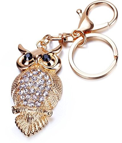 1 Pc Mini Pocket Vintage Crystal Owl Keychain Keyring Keyfob Little Bird Pendant Keys Chains Rings Tags Strap Wrist Finest Popular Cute Wristlet Utility Keyrings Tool Teenagers Teen Women Girls Gift ()