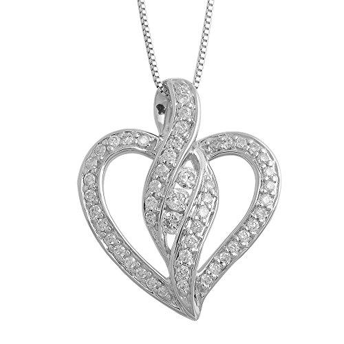 14k White Gold Diamond Heart Pendant - 14k White Gold Heart Diamond Pendant Necklace (0.28 carat)