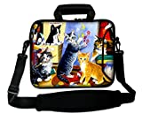 AUPET 13 - 13.3 inch Laptop Computer Neoprene Sleeve Carrying Case Bag with Handle, Adjustable Shoulder Strap & Extra Pocket ( Nice Cat Painting )