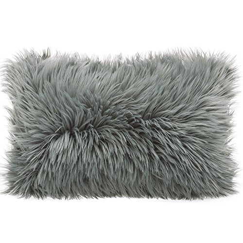 Cojin de pelo largo de CelinaTex, de pelo de oveja de imitacion, tela, gris, Kissen 40 x 60 cm
