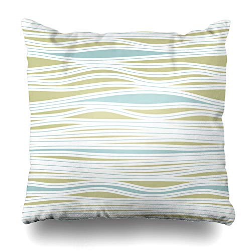 Ahawoso Throw Pillow Cover Rhyme Modern Stripes Abstract Geometric Beach Stripe Breeze Creative Curve Delicate Design Ripple Zippered Pillowcase Square Size 16 x 16 Inches Home Decor Cushion Case