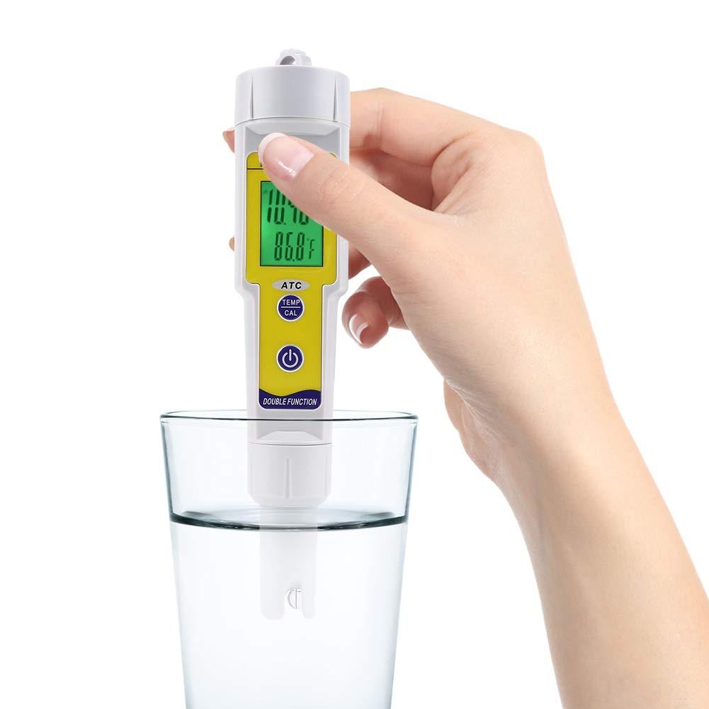 Acogedor PH Meter, 0.01 ph High Accuracy PH Tester,0-14 PH Measurement Range for Household Drinking Water, Aquarium, Swimming Pools, Hydroponics
