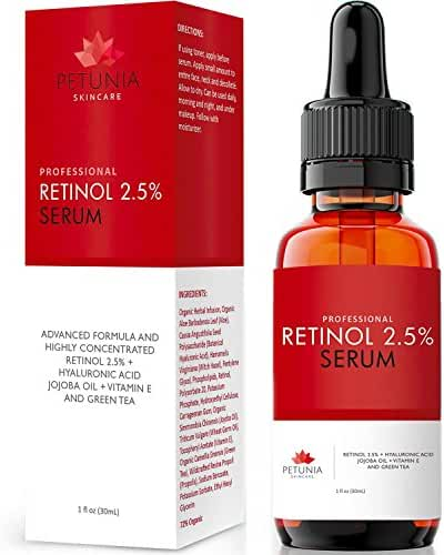 Best Retinol Serum 2.5% with Hyaluronic Acid | Natural Jojoba Oils, Witch Hazel, Vitamin E and Green Tea | Anti-Aging, Anti-Wrinkle Skin Repair | Helps Reduce Blemishes & Dark Spots | 1 fl. oz.