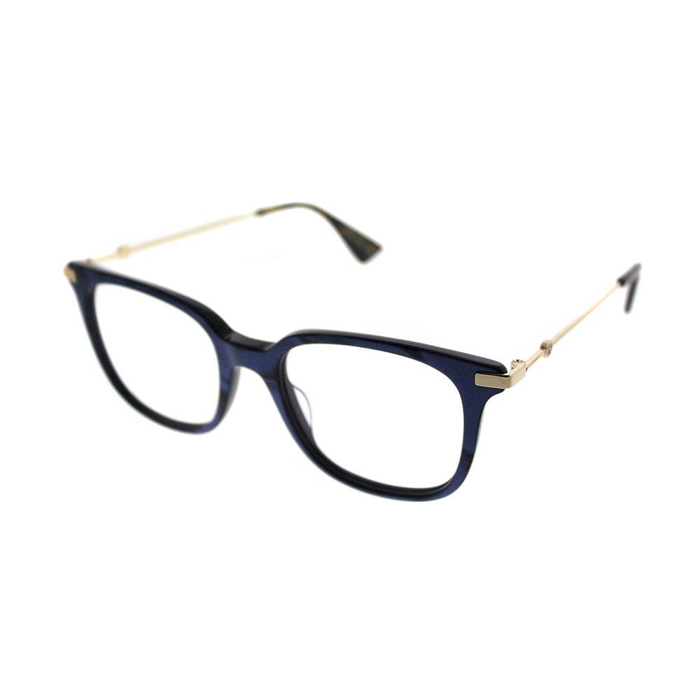 f40bfd2ebdc Galleon - Gucci GG 0110O 005 Blue Gold Plastic Square Eyeglasses 49mm