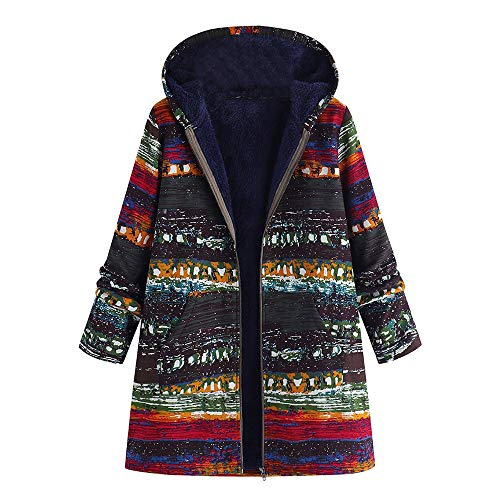 Franterd Plus Size Winter Thicker Coat Women Cotton Linen Fluffy Fur Zipper Coats Ethnic Thicker Hooded Cardigan