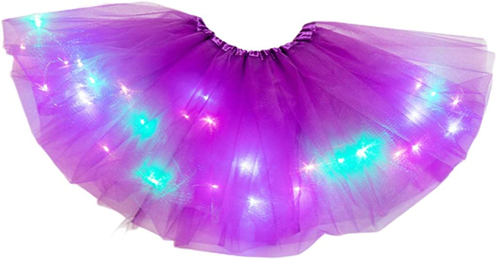 Women Girls Neon LED Dance Tutu Skirt Pleated Layered Tulle Light Up Short Dress