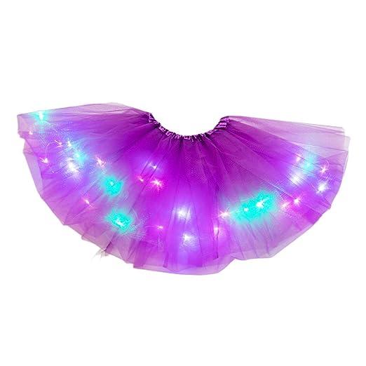 WT-BLVUVY - Falda tutú de tul plisada con luz LED de neón para ...