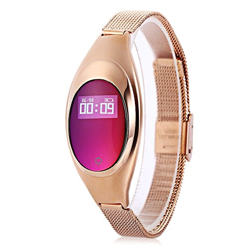 2017 New Smart Bracelet Z18 with Blood Pressure Measure Heart Rate Monitor Pedometer IP67 Waterproof Bluetooth Wristband for Android and IOS (Gold)