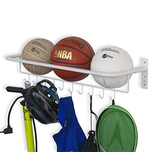 Brightmaison Wall Mount Metal Sports Ball and Gear Equipment Organizer Hanging Rack with Hooks in White 32 Inch Long by Brightmaison