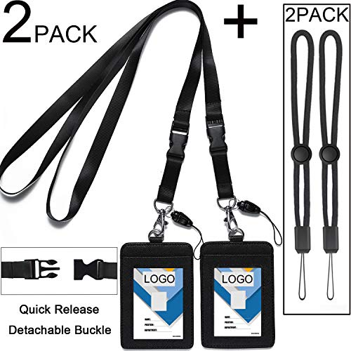 2 Pack Badge Holders Leather+2 Pack Neck Lanyards,Quick Release Detachable Buckle Black Lanyard/Strap for Men/Women/Keys 2-Sided PU Leather Vertical ID Cards Holder with 1 ID Window and 2 Card Slot